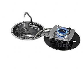 1 BURNER FOLDING HOB + INSET ROUND SINK